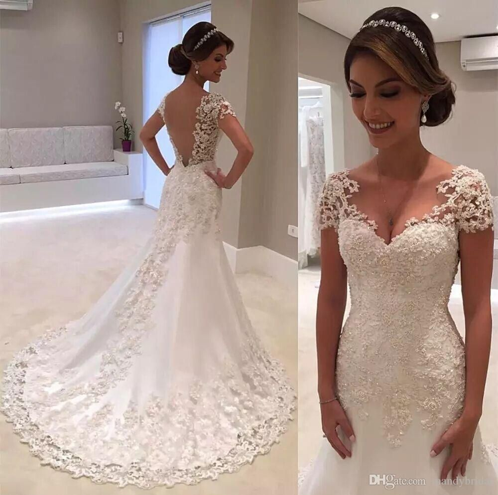 elegant mermaid wedding dresses cap sleeve count train