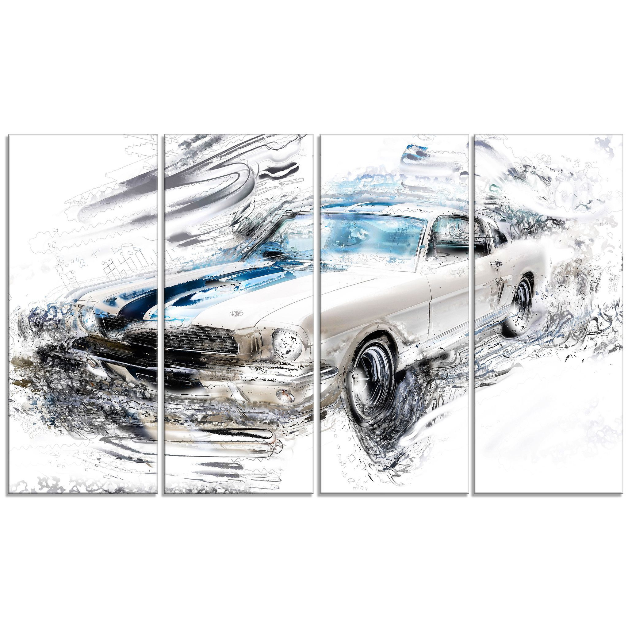 White American Classic Car Canvas Wall Art Print American
