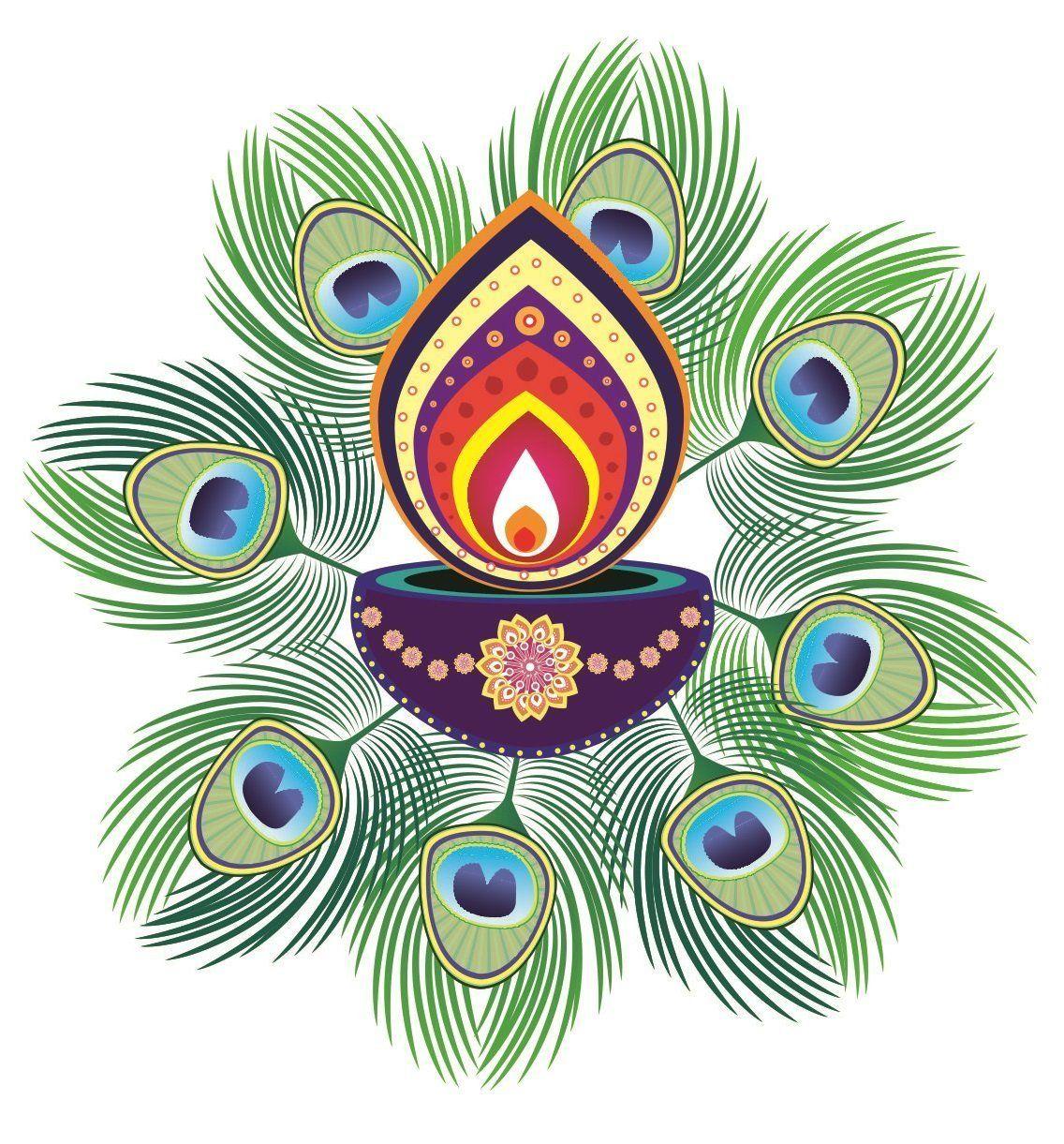 Diwali Special  Pvc Floor Art Beautiful Peacock Feather And Diya Rangoli