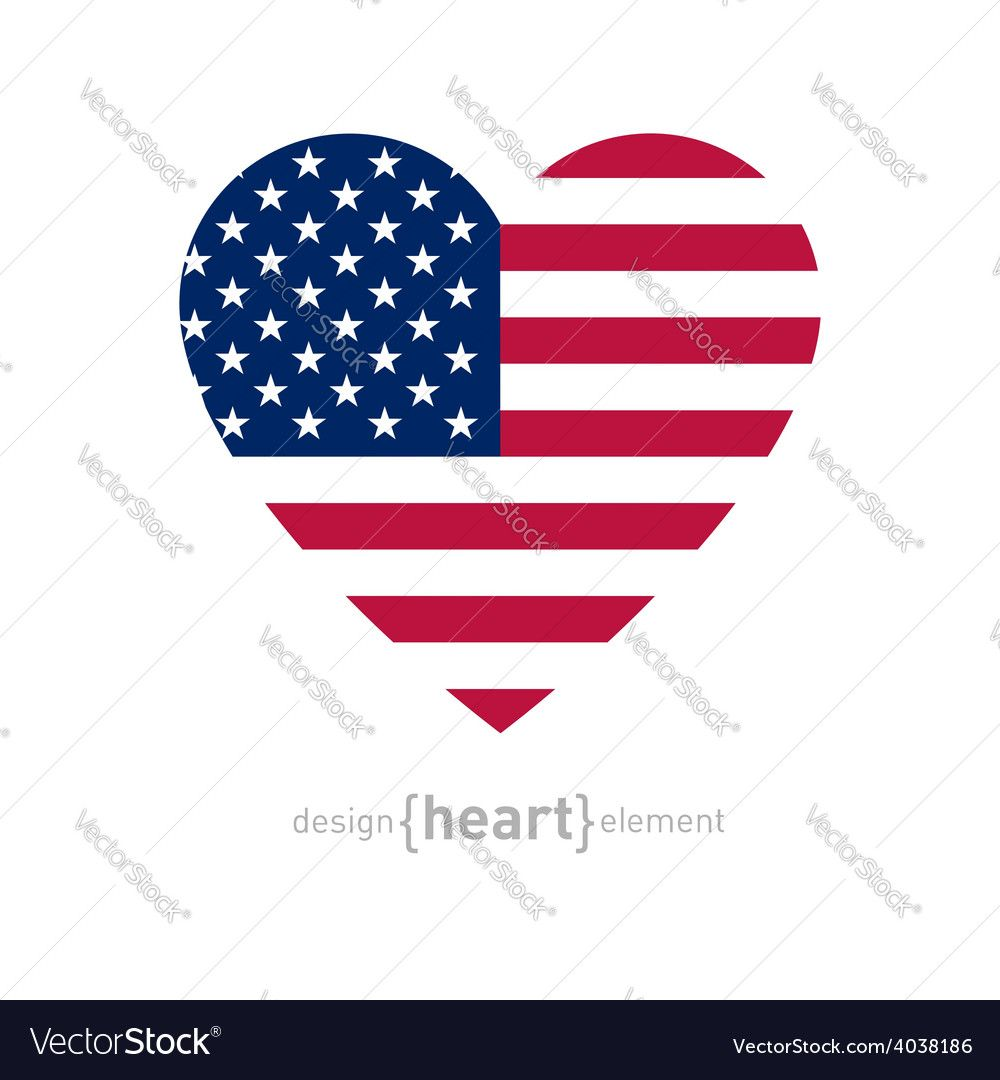 Vector Image Of Heart With American Flag Colors And Symbol Vector