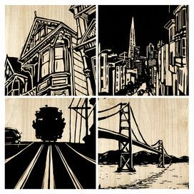 Would be great in an office or HUGE gallery wall! 4 Piece San Francisco Wall Art Set