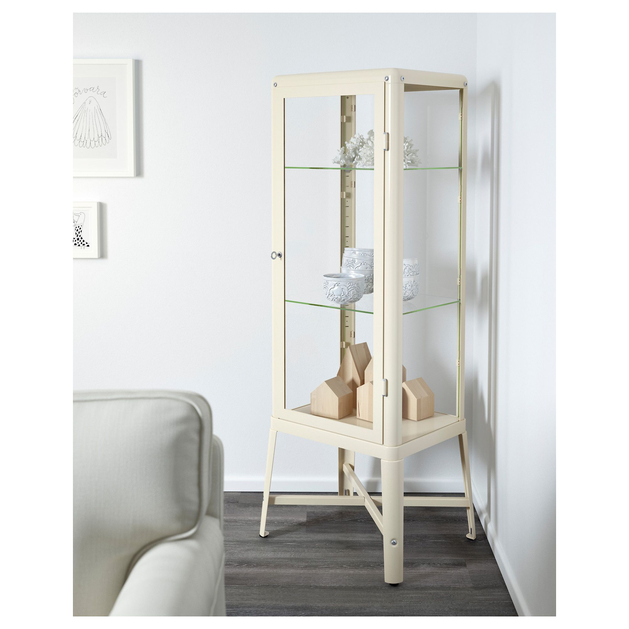 FABRIKÖR Glass-door cabinet, beige | Glass doors, Doors and Cupboard