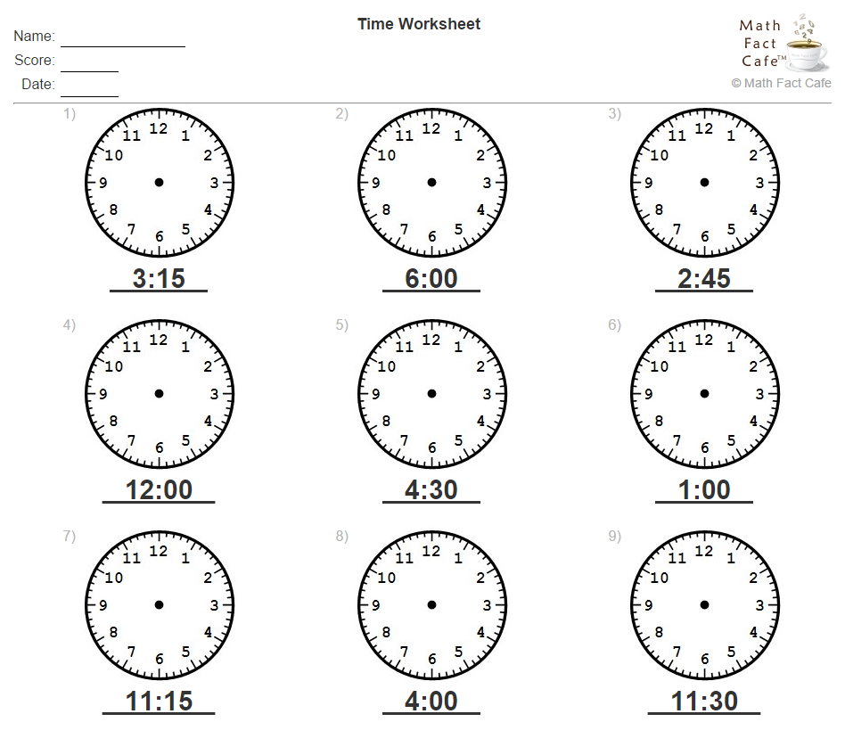 How About A Little Practice To Work On Telling Time Given A Time Draw The Clock Hands More On Mathfactcafe Http Www Ma Math Facts Time Worksheets Math
