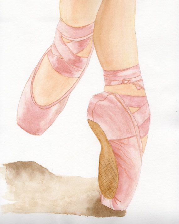 Ballerina en Pointe Ballet Shoes Dance by LanaStuartArtStudio