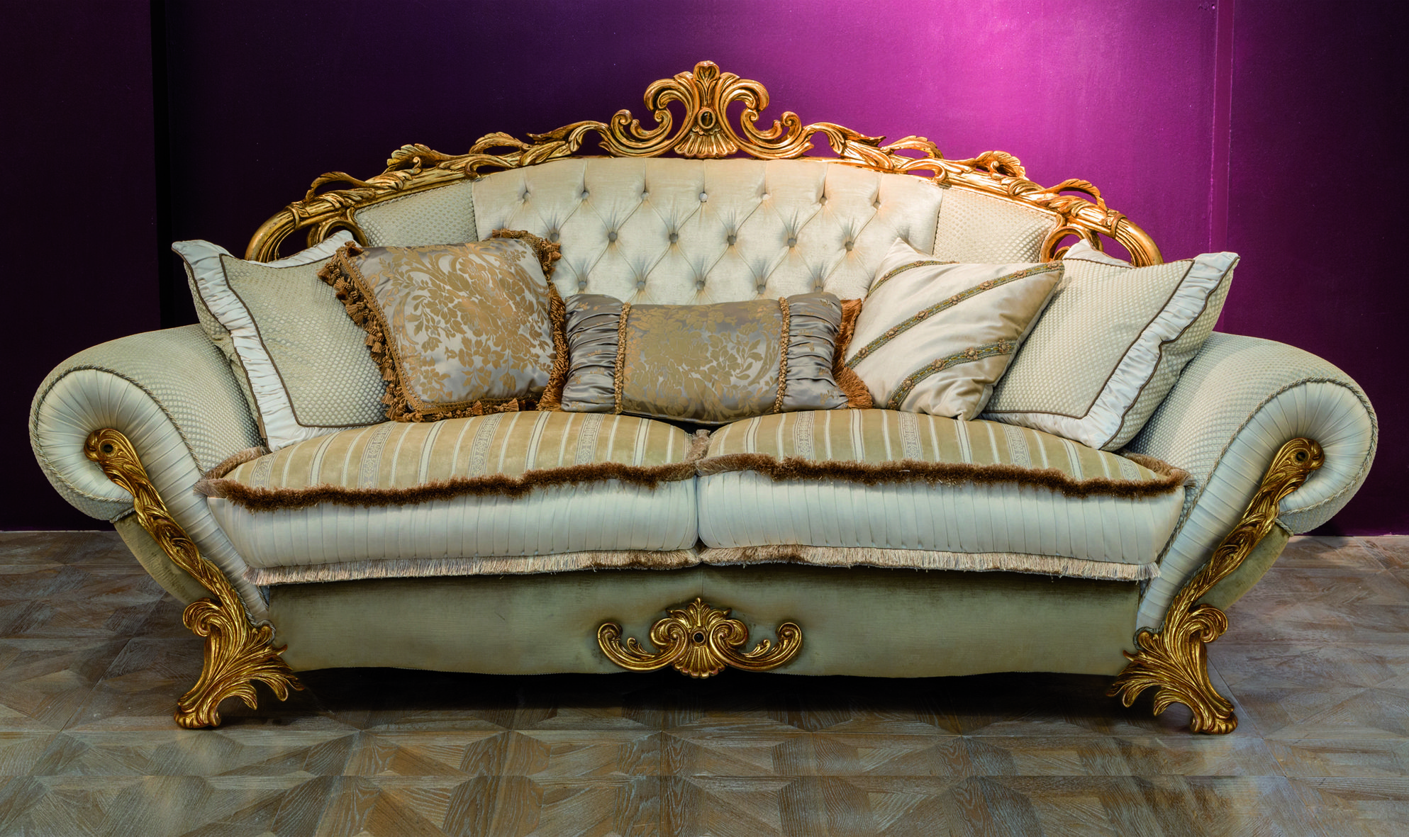 """OLEANDRO 3 seater sofa Covering as seen : Tufted central backrest and back tufted : Fabric art. Teatrocol. 122 cat. Extra. Armrest, backrest and back base : Fabric art. Rococò rombetto beige cat. Deluxe. Seat : Fabric art. Rococò riga col. Beige cat. Deluxe. Band of seat : Fabric art. Raso Rio col. 6537 cat. Super. Base and back : Fabric art. Teatro col. 103 cat. Extra. Wood Finishing : cod. 395 - Gold antiqued leaf with red bole with cabuchon in """"tiger eye"""". www.mantellassi.com"""