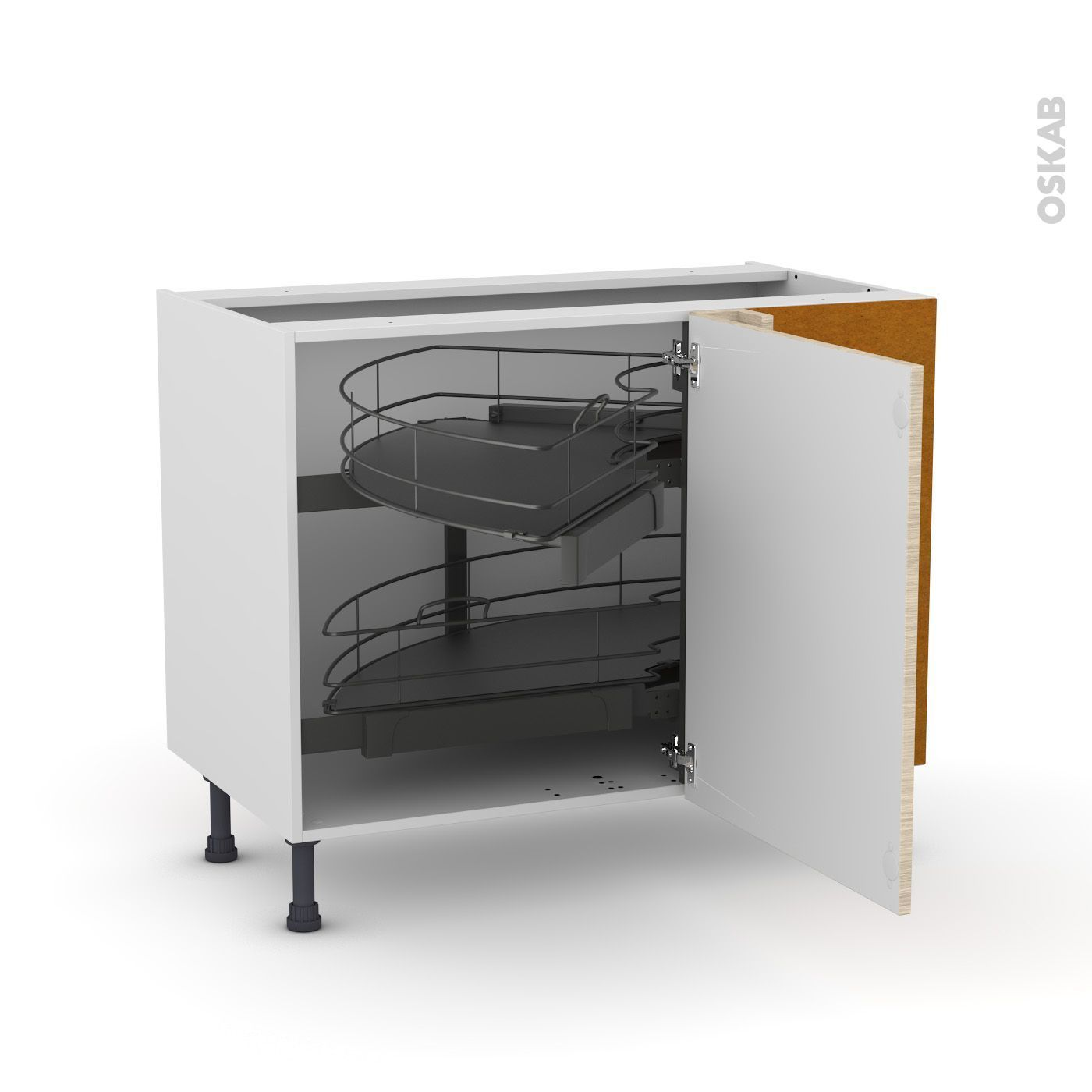 Meuble De Cuisine Angle Bas Stilo Noyer Blanchi Demi Lune Coulissant Tirant Droit 1 Porte L60 Cm Mobile L100 X H7 In 2020 Small Kitchen Storage Locker Storage Kitchen Remodel