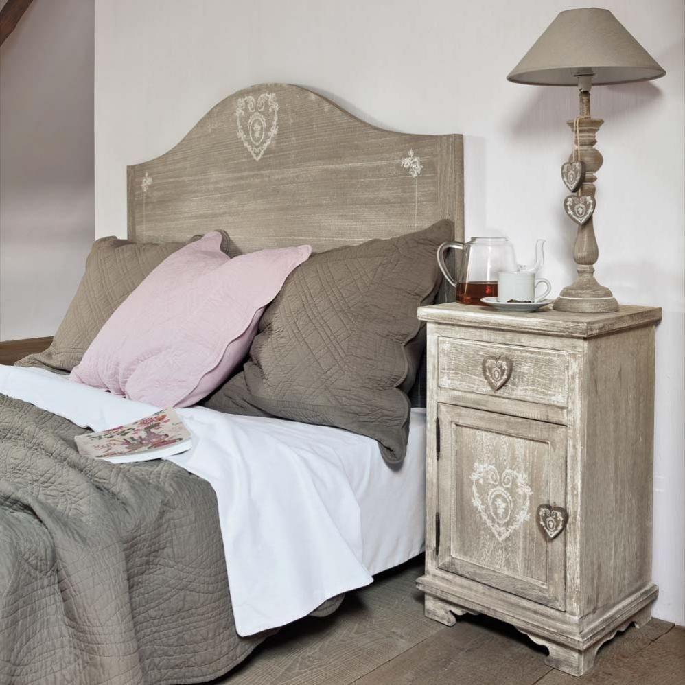 Table de chevet avec tiroir en paulownia grisée | Chambre ...