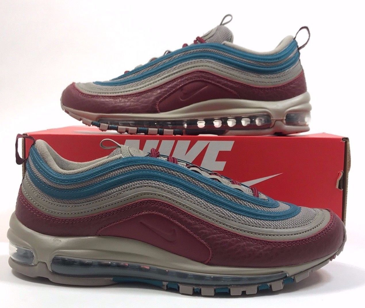 61b9d2d6430c33 Details about Nike Air Max 97 SE AQ4126 202 Light Taupe Team Red