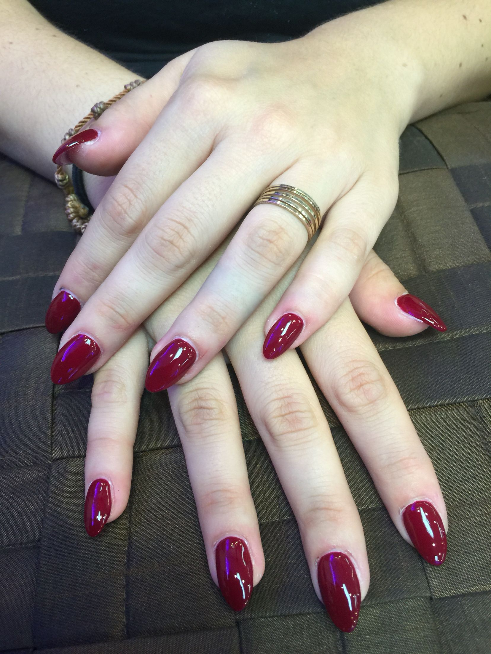 Almond nail shape with dark red | In love | Pinterest | Almond nails ...