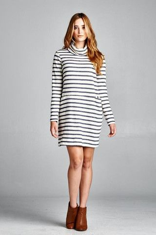 This striped turtleneck dress has the cutest front pockets — it looks great on its own or with sweet leggings.