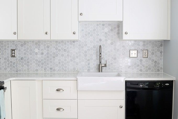 How Much To Install Backsplash marble mosaic backsplash installation tips How To Install A Marble Hexagon Tile Backsplash