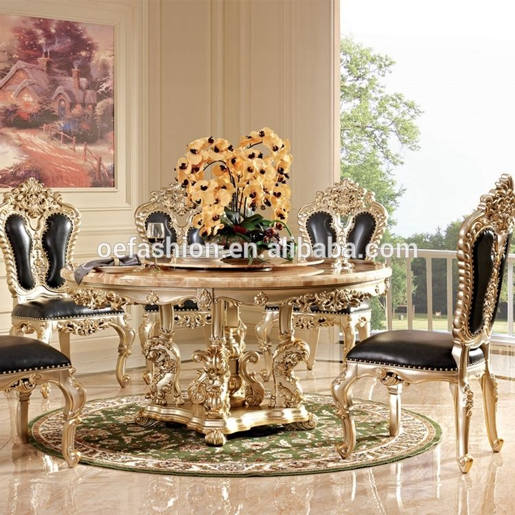 Oe Fashion Luxury Marble Top Dining Table Wood Round Dining Table
