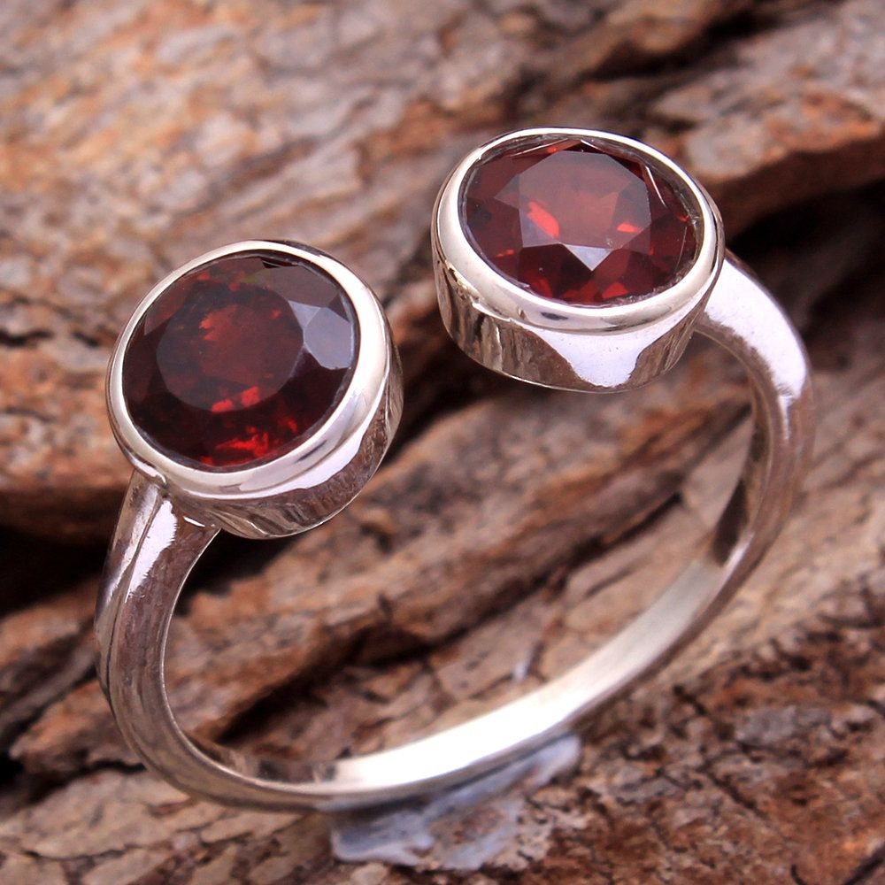 925 Sterling Silver Red Garnet Real Gemstones Ring Real Gemstones Round Faceted Garnet Ring Jewellery Most Item Gift for Wife