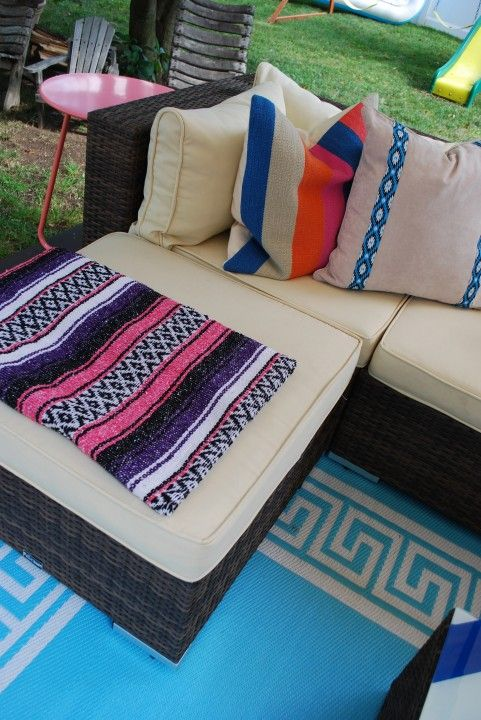 ribbon fabric glued on outdoor pillow