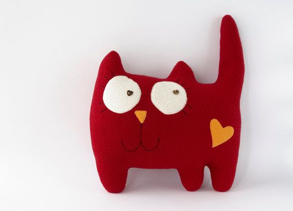 Red cat pillow, cat soft toy, stuffed cat toy, cat stuffed animal ...