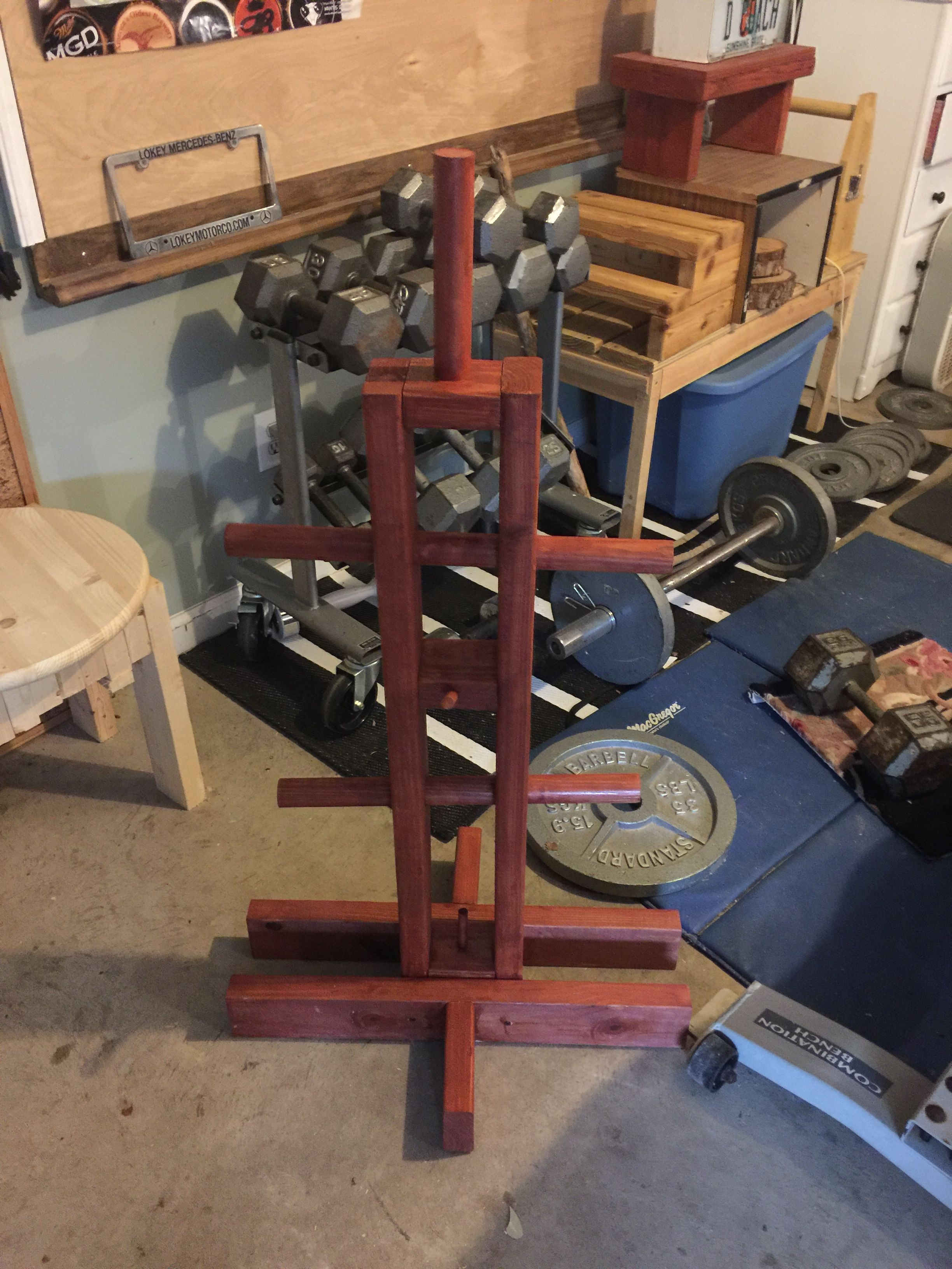 Diy Weight Tree I Need A Place To Store My Plates So I Built One Got The Plans From Www Girlwalksintoabarbell No Equipment Workout Diy Home Gym At Home Gym