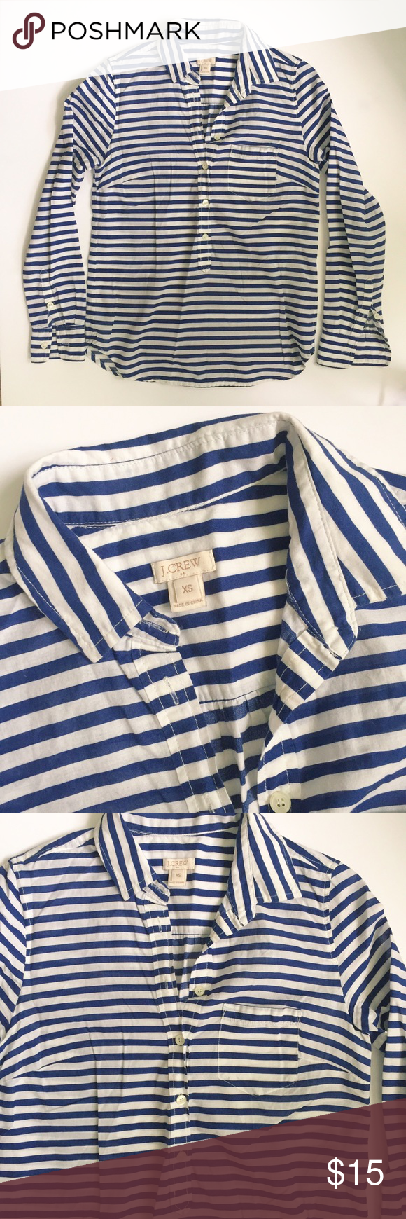 J.Crew Blue and White Striped Button Up Shirt J.Crew Blue and White Striped Button Up Shirt in X-small. This is a reposh as I was sad it was a little too tight for me. Buttons go about half way down the shirt. J. Crew Tops Button Down Shirts