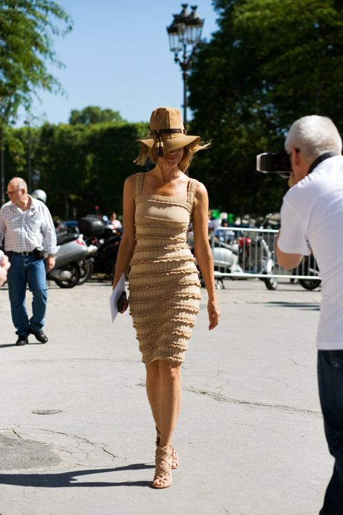 beige, camel, carine roitfeld, classy, dress