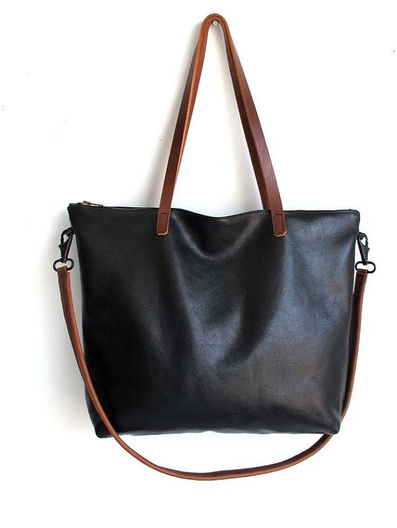 Large black leather Laptop bag , Black cross body tote, Black ...