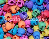 100 RAINBOW colored SKULL pony BEADS kandi skulls raver plastic acrylic bead Just over 10mm #EasyNip