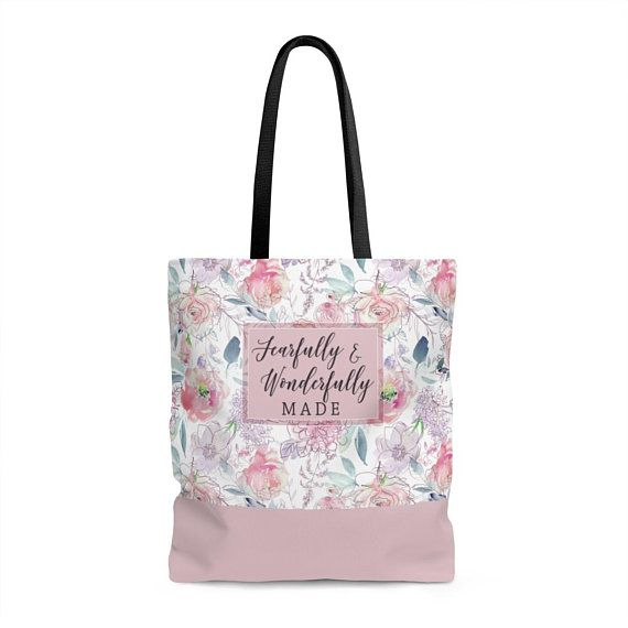 4cafcdd5a419 Bible Study Tote Bag   Fearfully And Wonderfully Made   Church Bag   Scripture  Tote Bag   Bible Vers