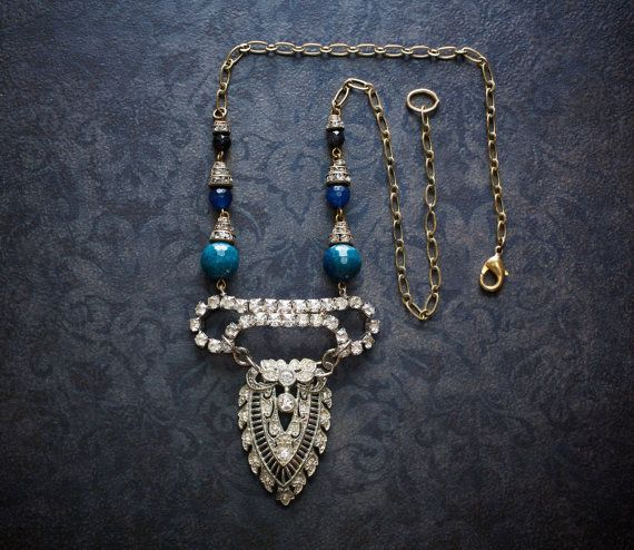 GATSBY Bridal-Flapper OOAK Vintage Authentic 1920s Art Deco RHINESTONE Pendant Necklace silver tone chain silver tone metal Pot metal