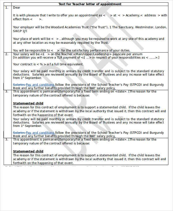Teacher Appointment Letter Template Free Word Pdf Format Download