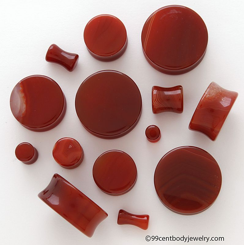 Red Agate Ear Weights