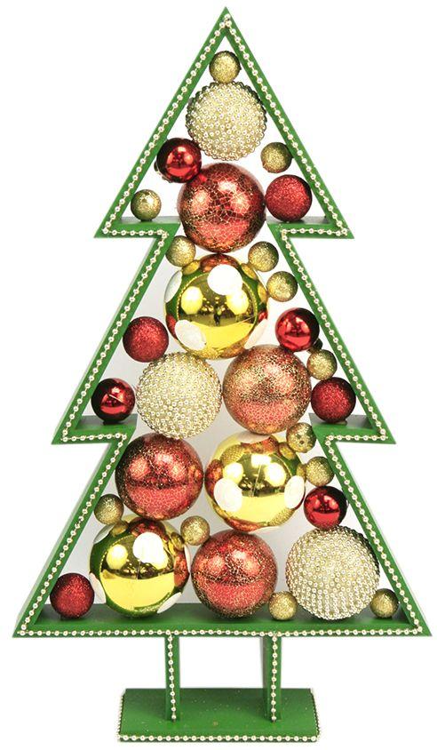 Pino de madera verde esferas rojas y doradas navidad - Adornos de navidad 2014 ...