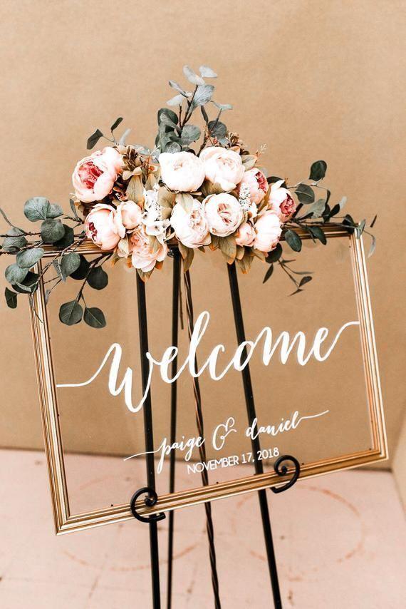 Gran cartel de bienvenida de boda. Signo de boda. Signo de acrílico de la boda