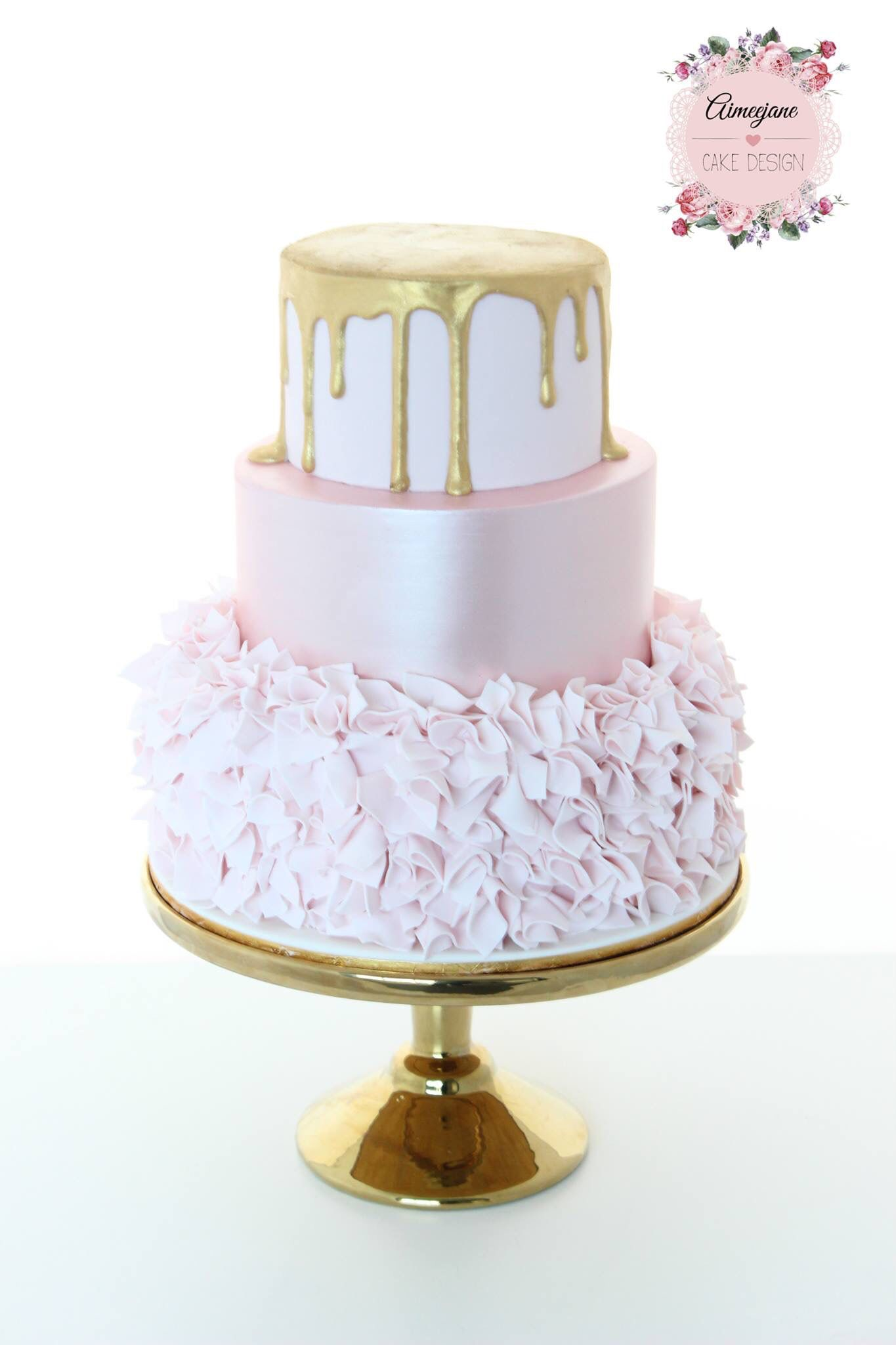 Aimeejane Cake Design gold drip rose pink lustre and ruffles