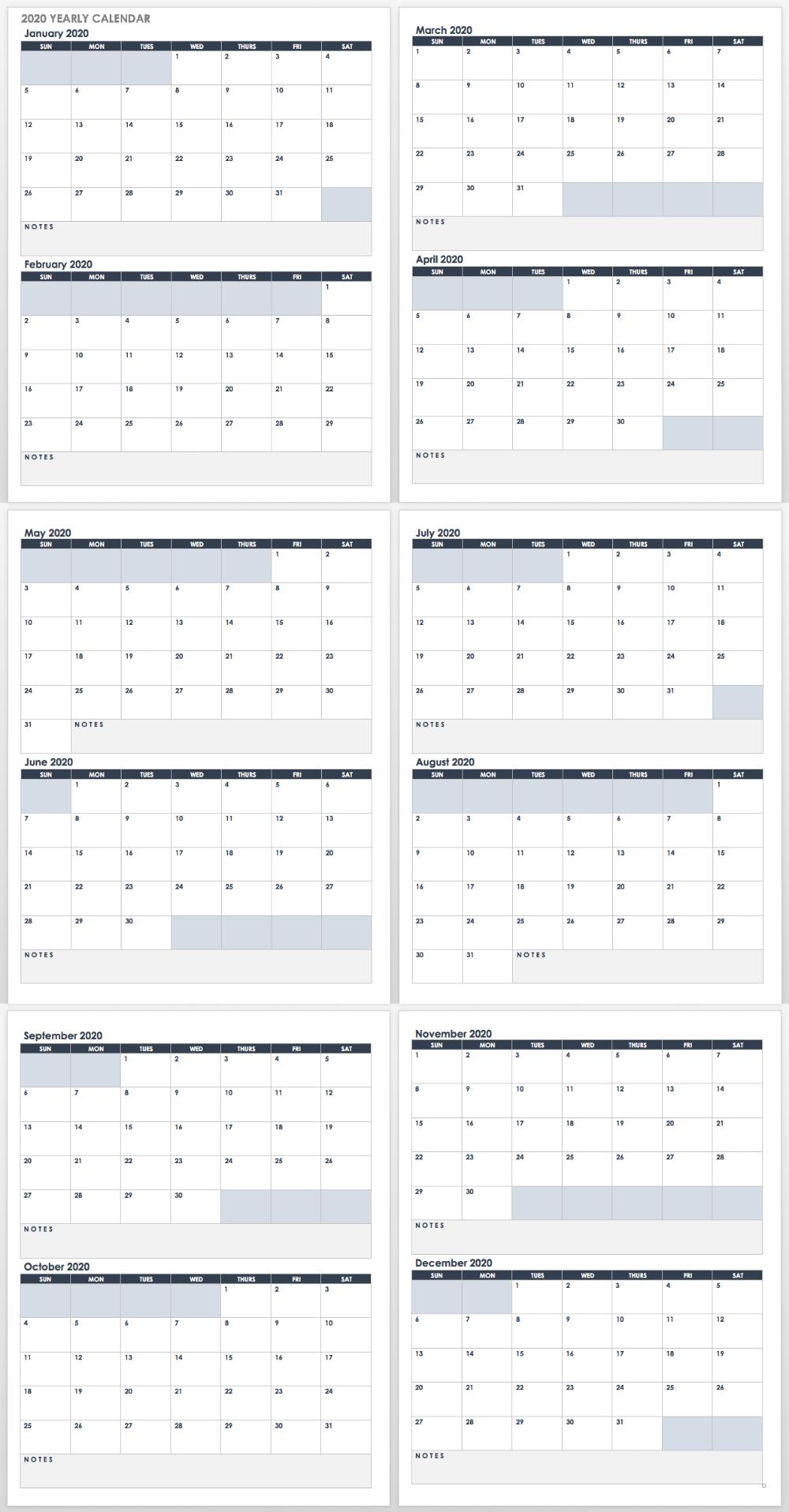 Open 2020 Google Docs Yearly Calendar Landscape Calendar Template Weekly Calendar Template Free Calendar Template