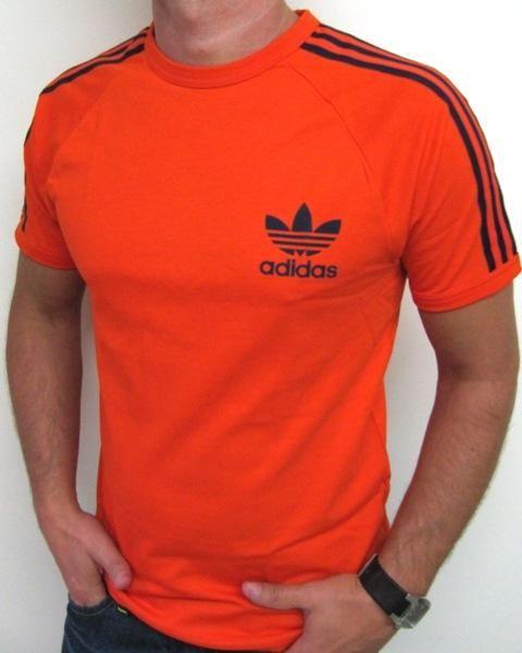 Adidas Trefoil Tee Orange 3 Navy Stripe An ever popular