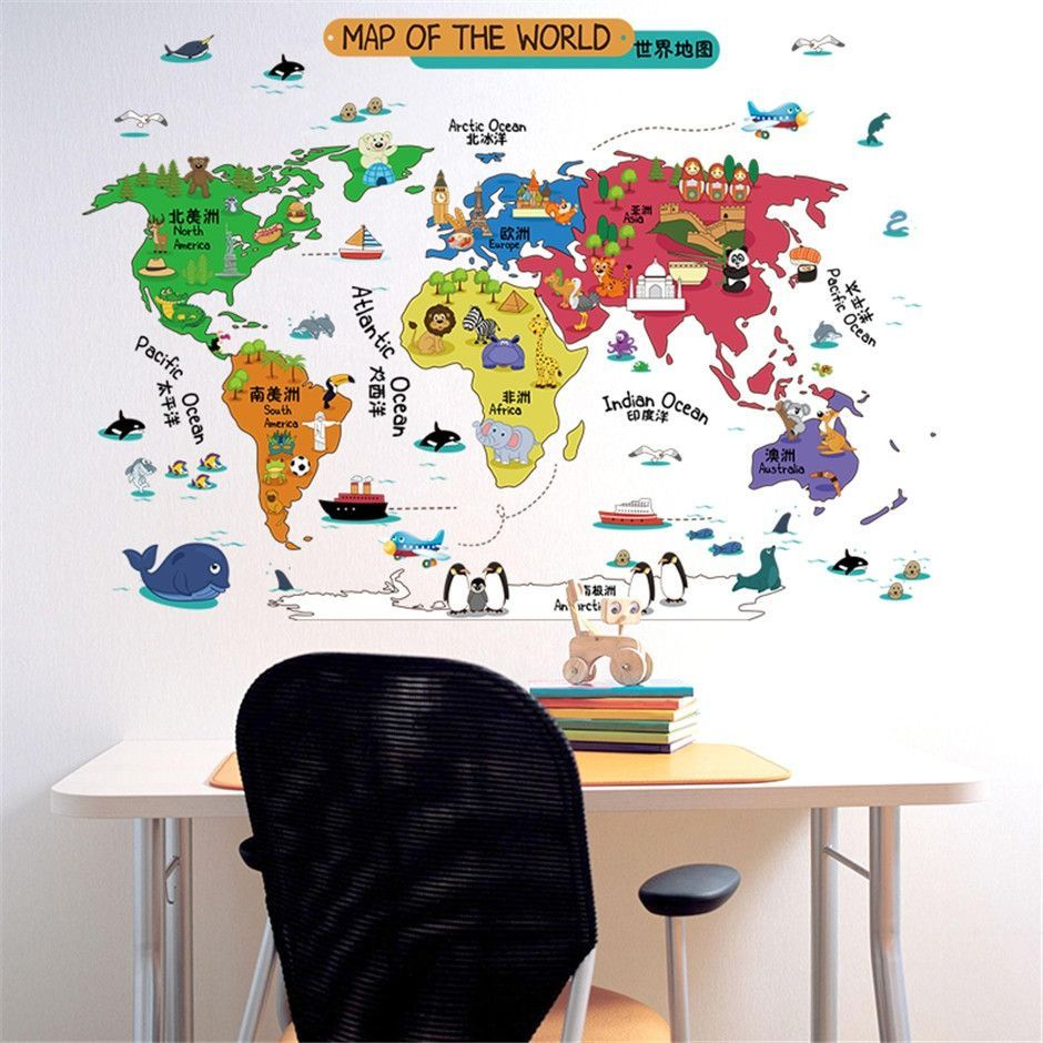 Start your childs interest in the world of travel with this fundecor cartoon world map wall sticers for kids rooms children decals diy home room decoration stickers on the wall gumiabroncs Gallery
