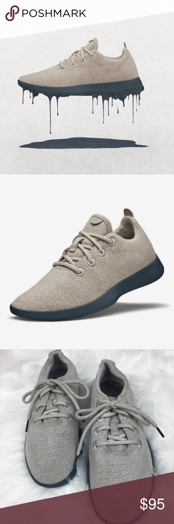 494e4f1ade0 Allbirds men s sand and navy wool runners Authentic. Brand new ...