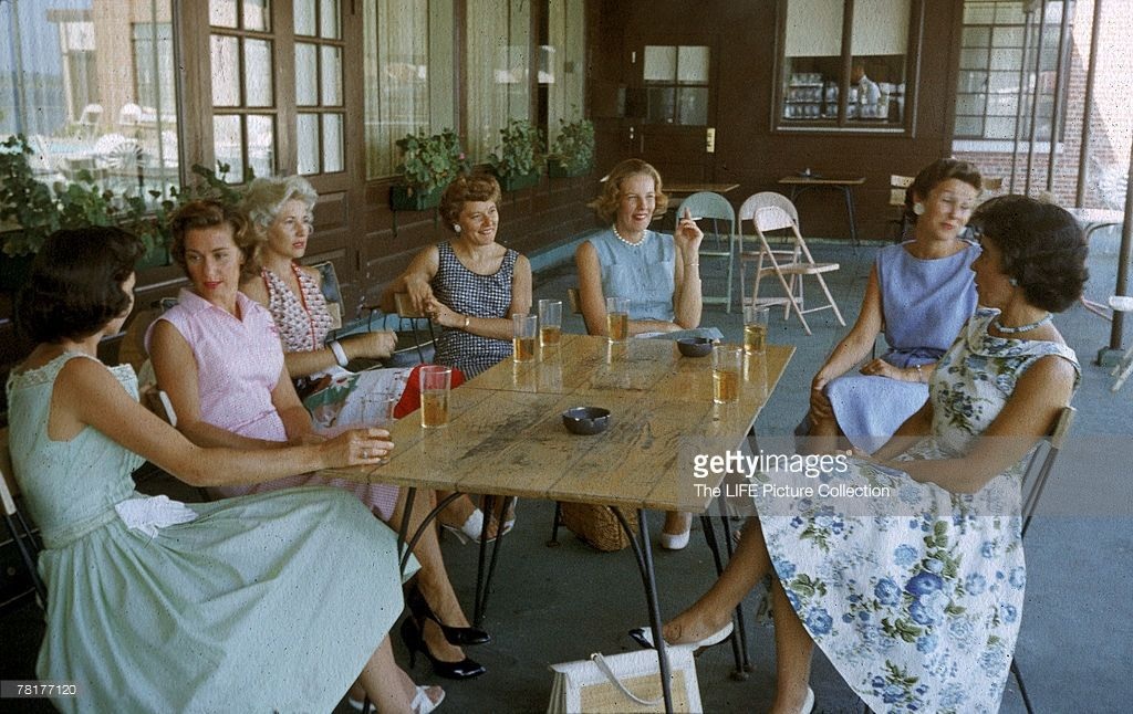 A group of the wives of Project Mercury astronauts relax