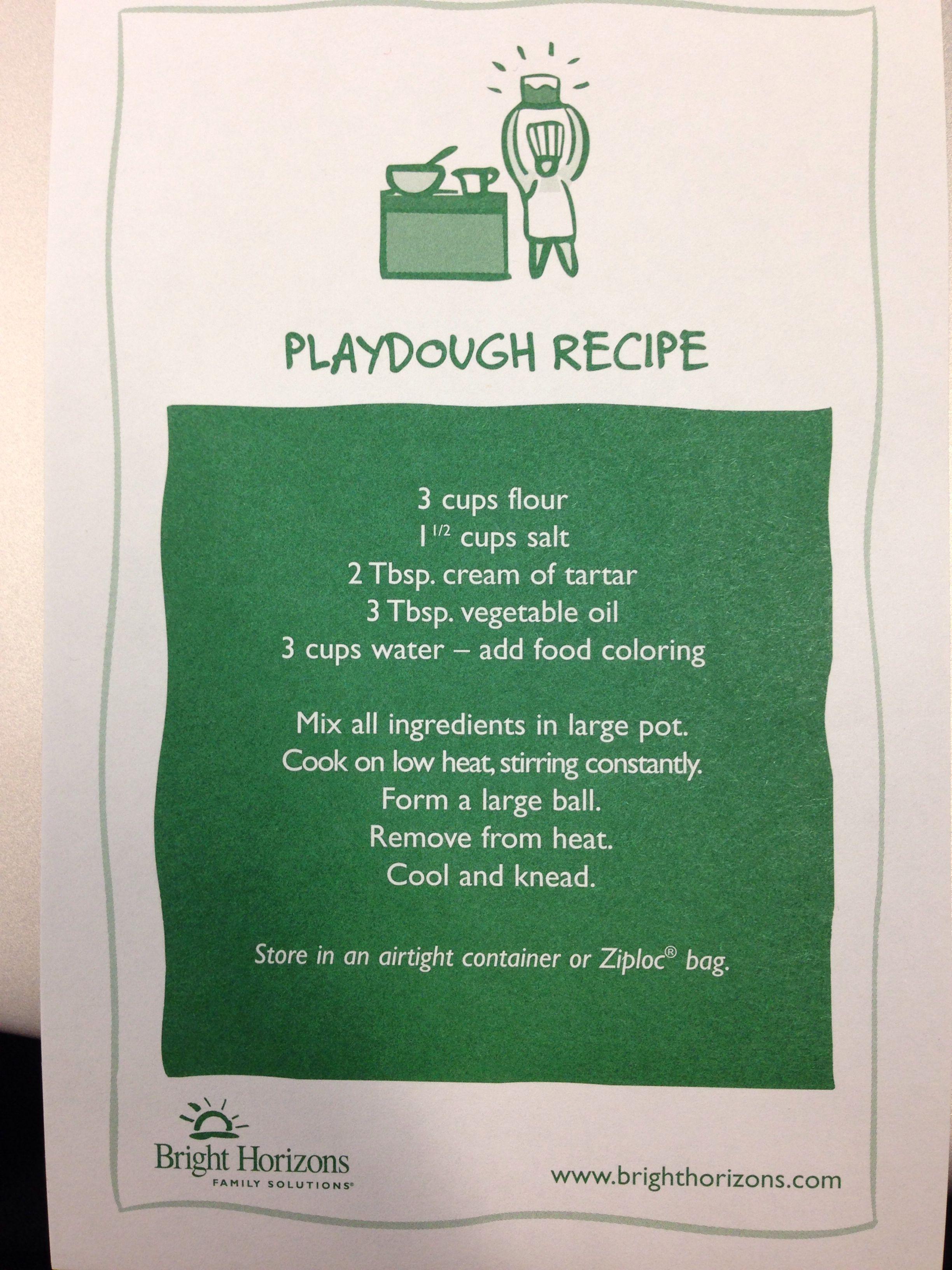 Playdough recipe from Bright Horizons Playdough recipe
