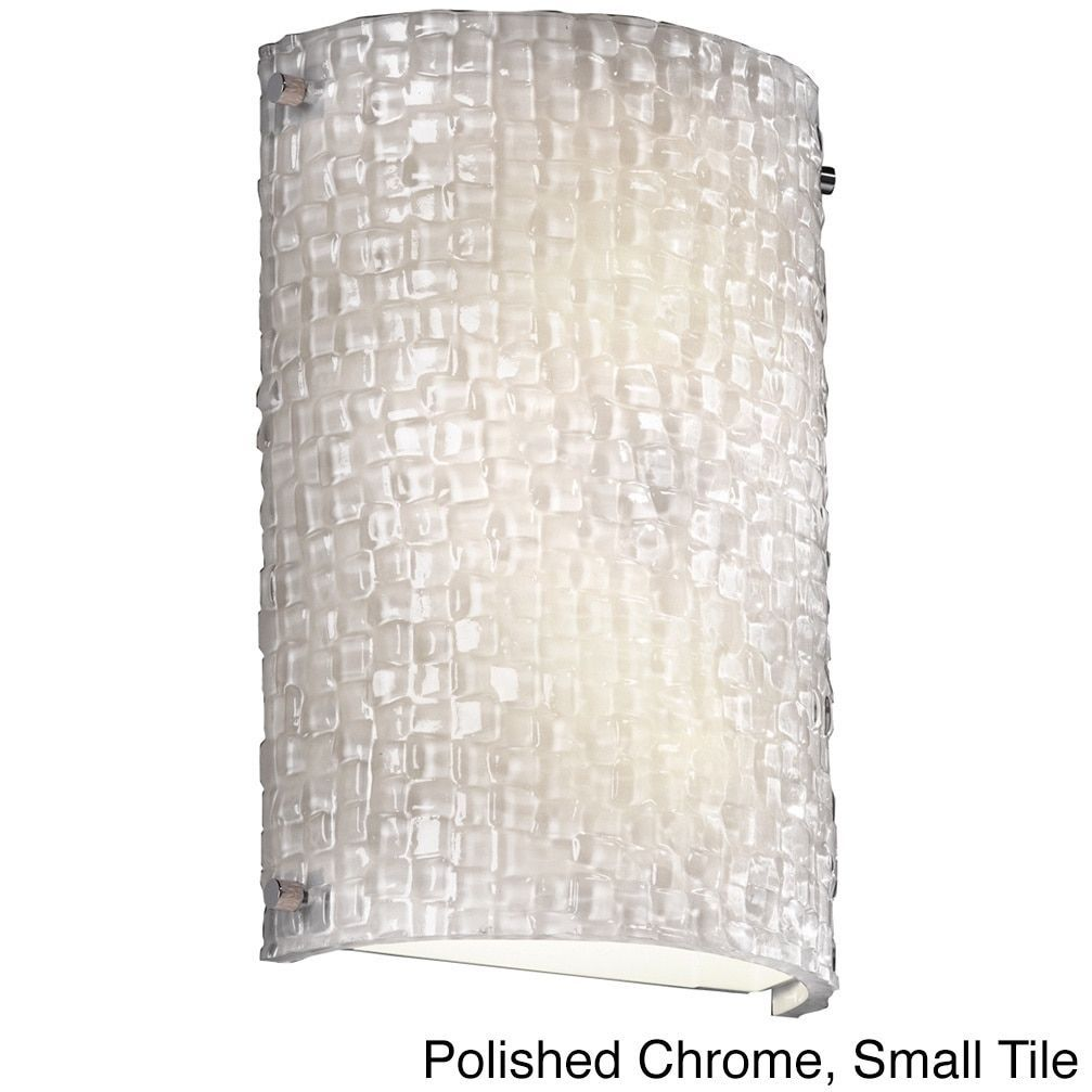 Justice Design 3Form Finials 2-light Cylinder Wall Sconce (Polished Chrome, Small Tile), Clear (Metal)