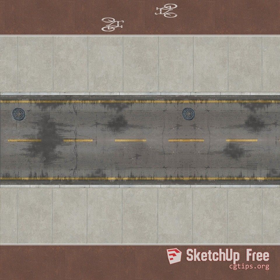 1547 High Quality Road Texture Sketchup Model Free Download