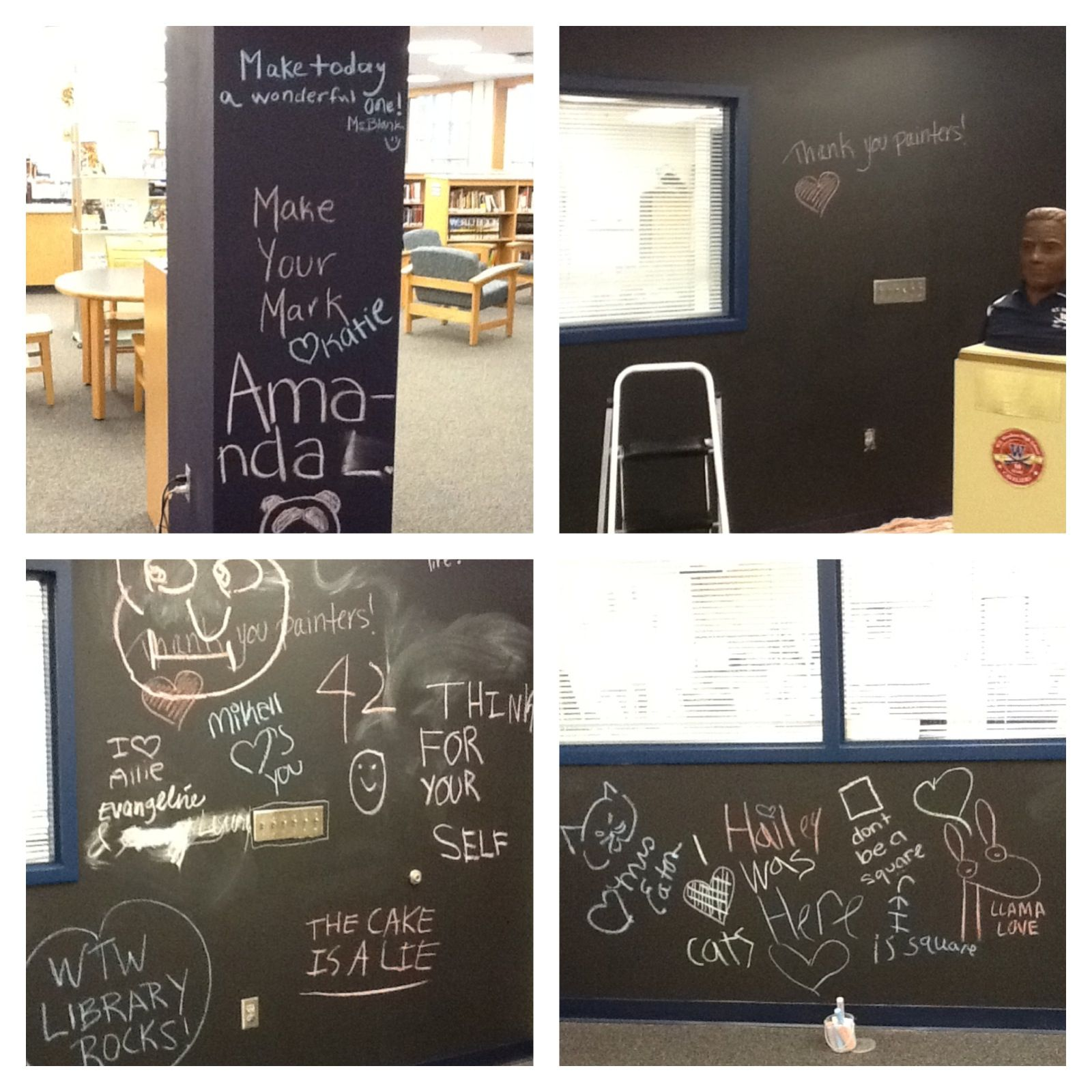 2013 2014 creativity and makerspaces our new chalk wall pillar are a