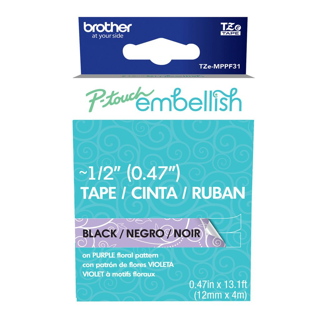 Brother p touch embellish black on purple floral tape biocorpaavc Image collections