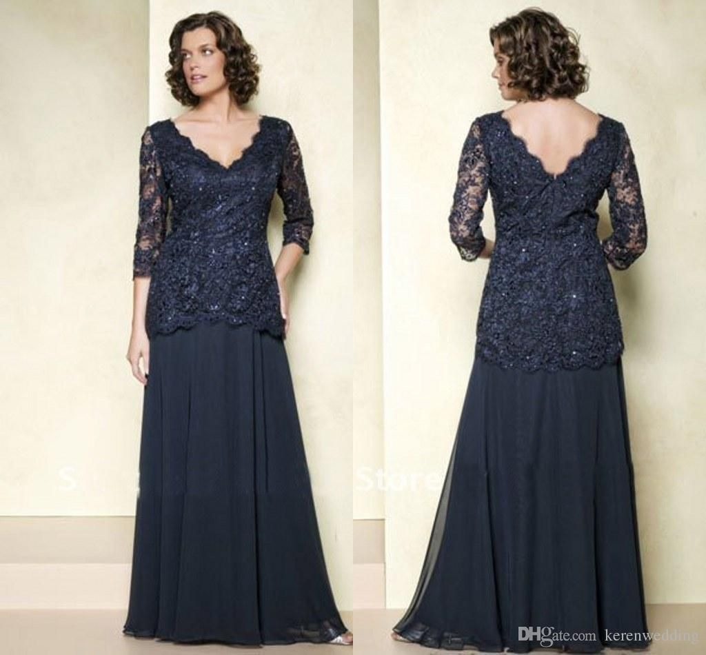 81325f6af2 Vintage Plus Size Navy Blue Mothers Dresses with 3/4 Long Sleeves ...