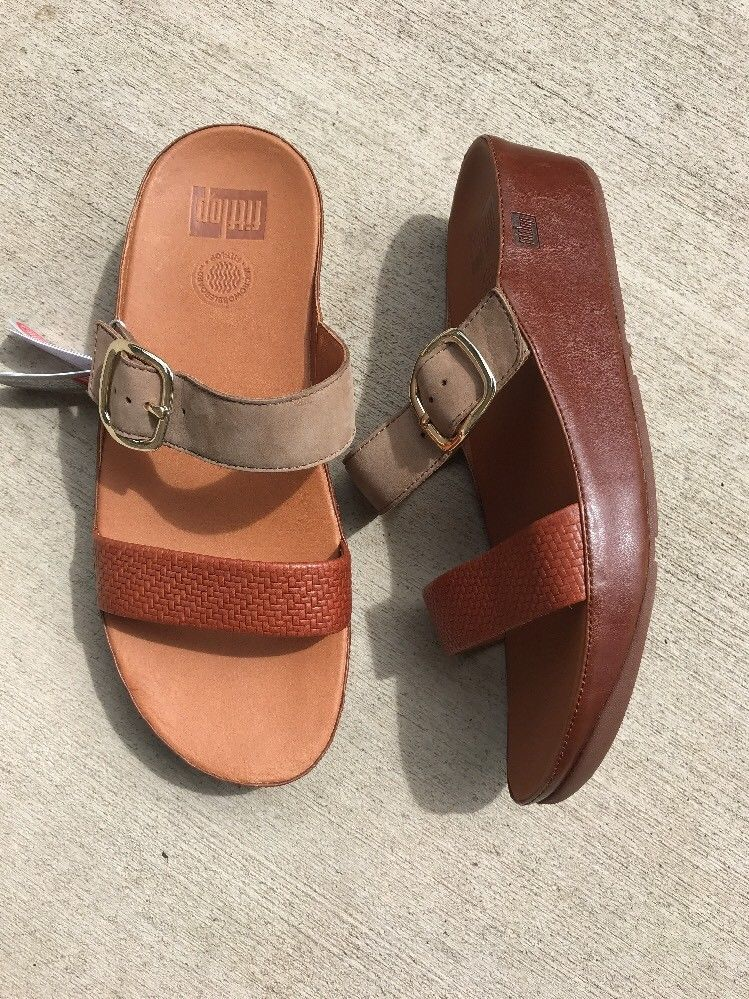 5e619b789 Fitflop Women s Stack Slide Dark Tan Tone Slide Wobble Board Sandals Shoes  10
