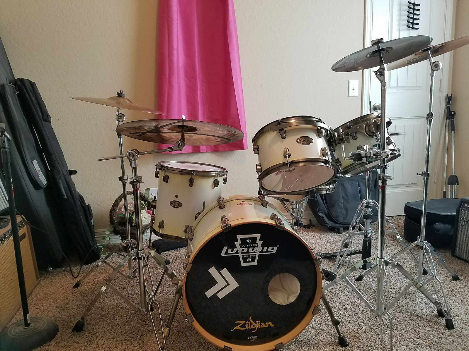 Ludwig Epic Series 100th Anniversary 2009 Attic White Andrew S Shop Reverb Drum And Bass Ludwig Drums Drums