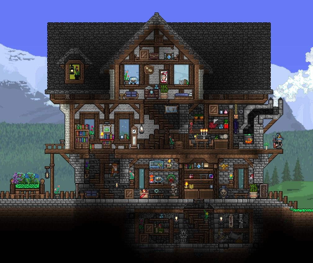 3 Level Terraria House With Basement