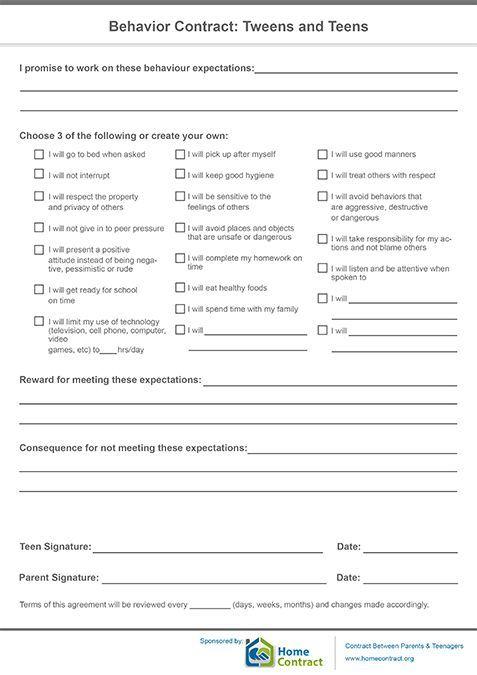 student contracts templates - behavior contract tweens and teens hmm discipline