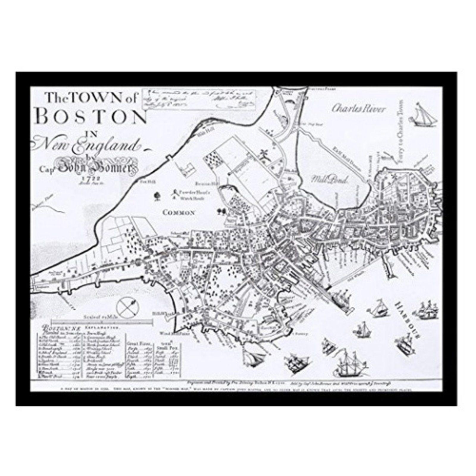 buyartforless map of boston 1722 framed art print poster [ 1600 x 1600 Pixel ]