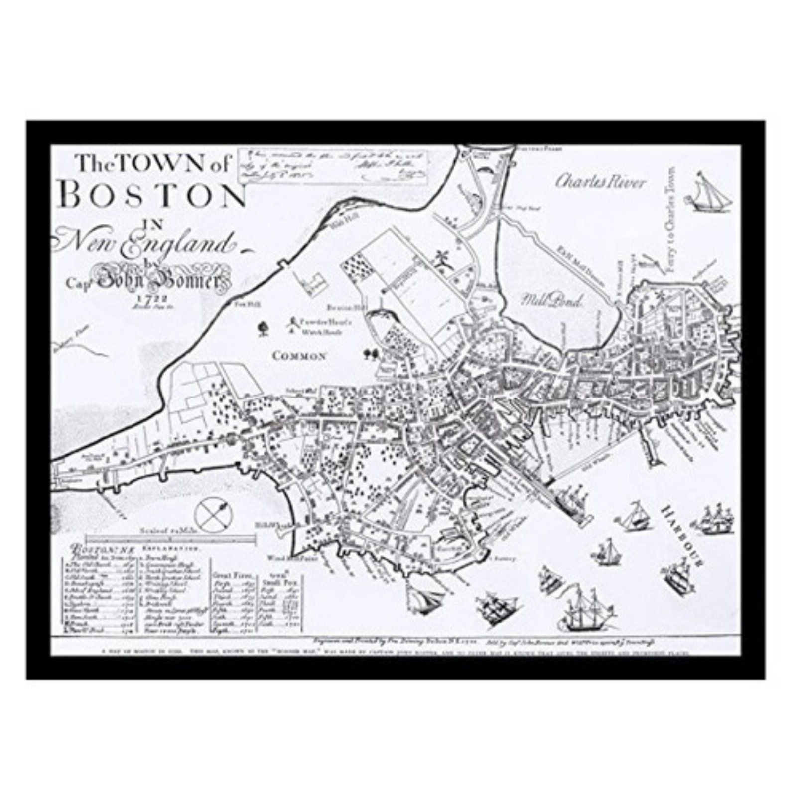 hight resolution of buyartforless map of boston 1722 framed art print poster