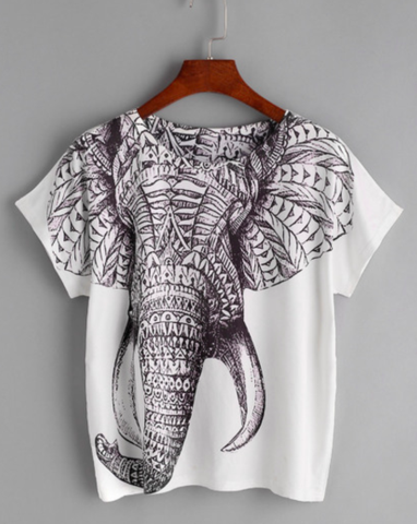 230821532 Boho Elephant Tee - Stunning elephant design - O-Neck t-shirt - One size  fits all - Please allow 2-3 weeks for delivery due to popularity.