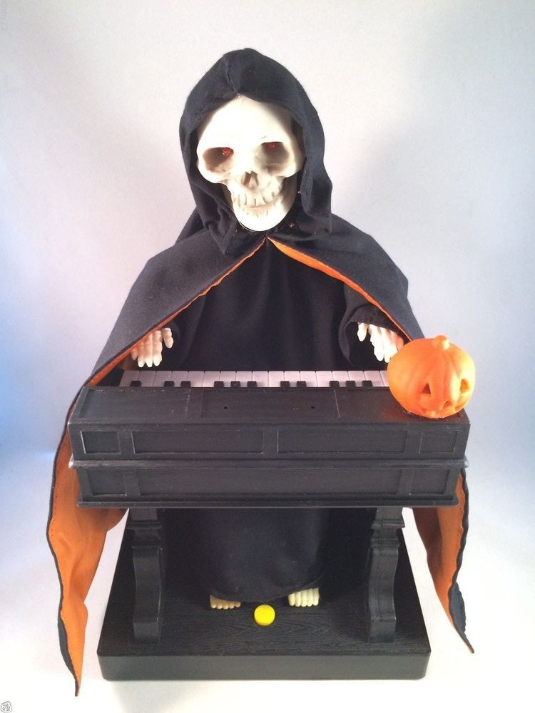 animated grim reaper playing organ piano vtg gemmy halloween prop in box w video